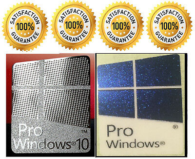 1 x Pr0 Window 10 Silver Logo Sticker Decals & Free Pro Windows Blue 10.