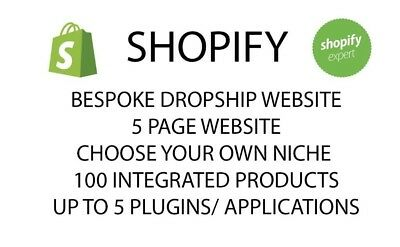 Bespoke Dropship Shopify Website -100 Integrated products and 5 page website!