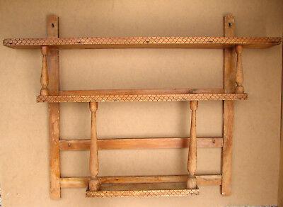 Antique vintage wooden wall shelf rack holder stand