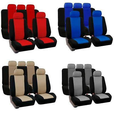 Universal Deluxe PU leather Car Seat Cover Full Front+Rear Cushion Pillow  NEUE