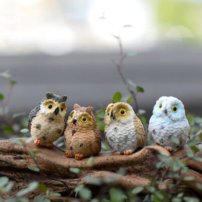 4x Cute Owls Miniature Fairy Garden Figurine Bonsai Craft Dollhouse Home Decor