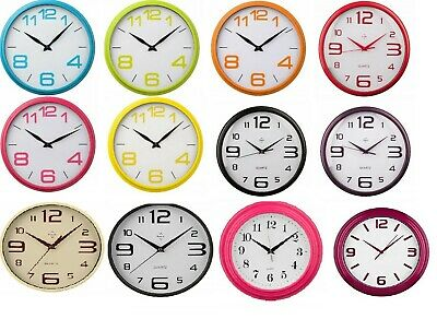 Wall Clock Plastic Coloured Frame White Dial Black Hands Round -Kitchen Bedroom