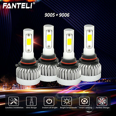 9006 HB4 + 9005 HB3 Combo Total 1960W Fanless CREE LED Headlight Kit Bulbs 6000K
