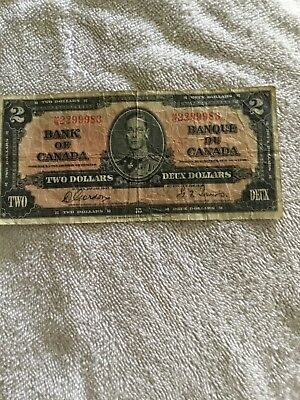 1937 Canadian Two Dollar Bill Deux Dollars 2