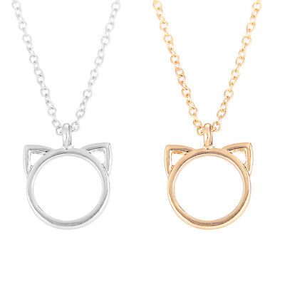 Am_ Fashion Cat Ear Animal Shape Pendant Sweater Chain Necklace Party Jewelry Ni