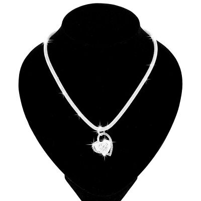 Women Fashion 925 sterling Silver Charm Heart Pendant Beautiful Necklace Jewelry