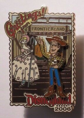 Disney Dlr Greetings From 2006 Toy Story Woody & Bo Peep Postcard Le 1000 Pin