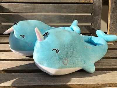 SMOKO Cute Fuzzy Narwhal Indoor Slippers Blue Changing (Showroom Sample)