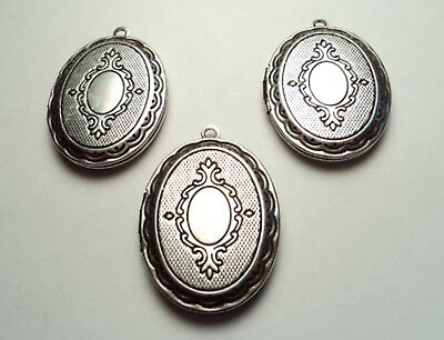 3 PCS- ANTIQUE SILVER PLATED ORNATE OVAL LOCKETS -M222so