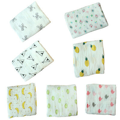 AM_ LC_ Cartoon Pattern Newborn Swaddle Cotton Infant Sleep Blanket Bath Towel D