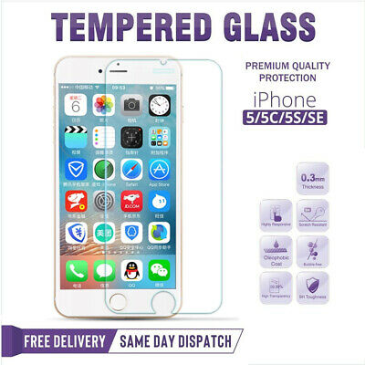 100% GENUINE TEMPERED GLASS SCREEN PROTECTOR FOR APPLE iPhone SE 5S 5