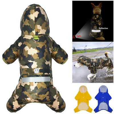 Dog Raincoats for Small Dogs Pet Puppy Waterproof Hooded Yellow Blue Camo S-2XL