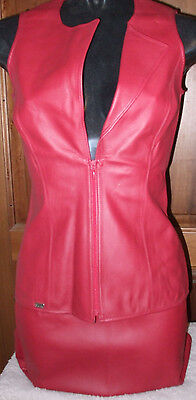 corpetto gilet con gonna corta completo ecopelle bordeaux mis M