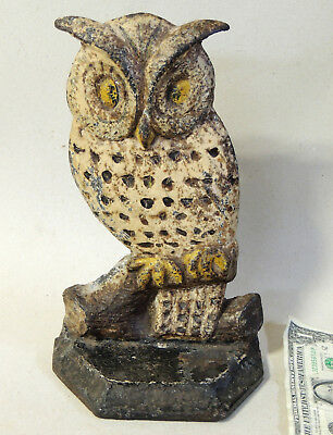 Rare Antique OWL early 1900s vtg Cast Iron DOORSTOP Original Paint Big Eyes