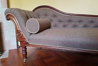 beautifully restored and traditionally upholstered edwardian chaise longue