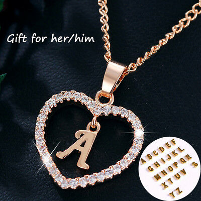 Gold Silver Plated Alphabet Letter A-S Heart Pendant Chain Necklace Jewellery