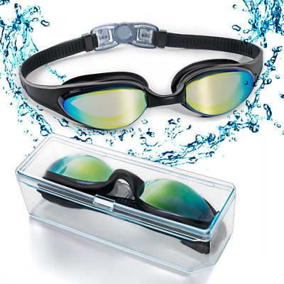 Swim Goggles Swimming Nose Bridge Coloured Mirror Lenses Anti Fog Uv Protection
