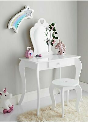 New Children Wooden White Amelia Vanity Set Dressing Table With Mirror & Stool