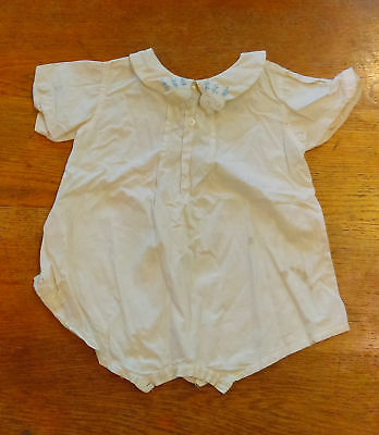 c1930 vintage baby outfit, one piece off white toddler outfit with blue