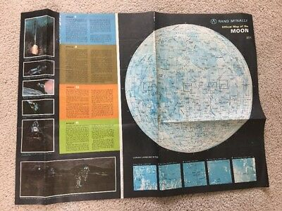 large vintage poster 1969 Rand McNally MAP of The MOON  Earth Science.