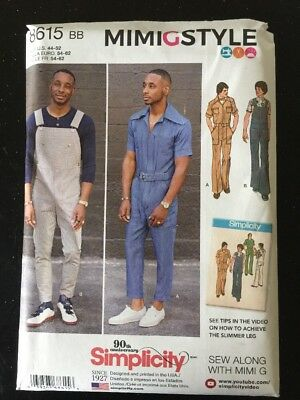 Simplicity 8615 Sewing Pattern Vintage Men's Jumpsuit Overalls Sizes 44-52 New