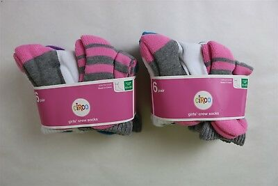 LOT OF 12 CIRCO Girl's Striped Solid Stretch Crew Socks - Shoes 5 1/2 - 8 1/2