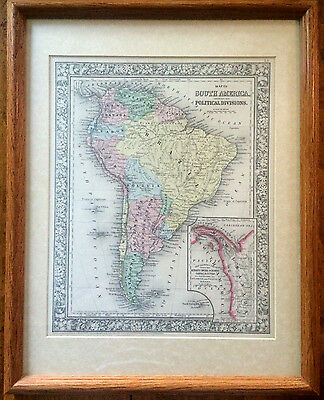 Large Antique Color 1860 Map PROPOSED PANAMA CANAL ROUTES SOUTH AMERICA FRAMED