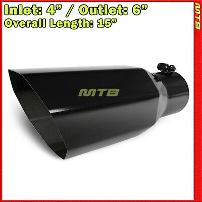 Universal Exhaust Tip Truck Angled Octagon Black 15 inch Bolt-On 4 In 6 Out