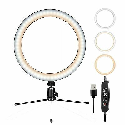 """10"""" Dimmable LED Ring Light w/Mount Stand Selfie Kit for Phone Video Live Stream"""