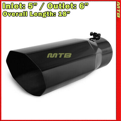 Exhaust Muffler Tip 214118 Truck Angled Octagon Black 18 inch Bolt-On 5 In 6 Out