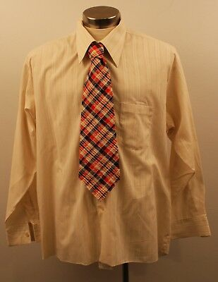 X LARGE,ORIGINAL VINTAGE 1970s MENS LONG SLEEVE SHIRT & TIE.