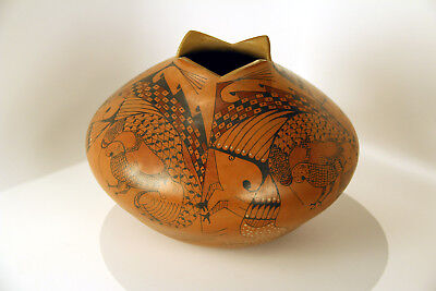 "LARGE PICTORIAL  Mata Ortiz Pottery Jar c1990 12""x11""  signed Ortiz Parrots etc."