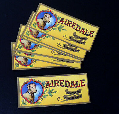 10 Lot AIREDALE CIGAR Paper Labels 1920s Antique vtg Victorian Box/Tin NOS