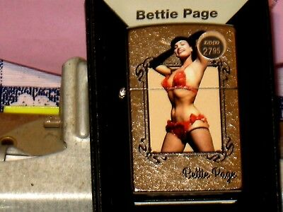 New USA Zippo Windproof Lighter 02580 Bettie Page Posing b Olivia St Chrome Case