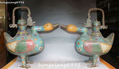"16"" Old China Cloisonne Enamel Bronze Duck Ducks Flower Wine Tea Pot Flagon Pair"