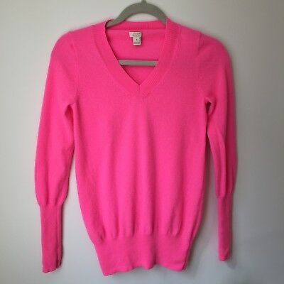 J Crew Womens Cashmere Sweater Bright Pink V Neck Size S 999