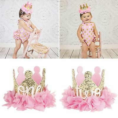 Am_ 1St Birthday Glitter Crown Gauze Flower Headband Babay Girls Photo Prop Fadd