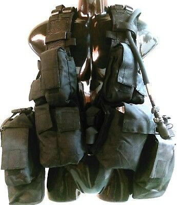 Tas M83 Black Military Assault Vests Heavy Duty 900D Double Pu Coated