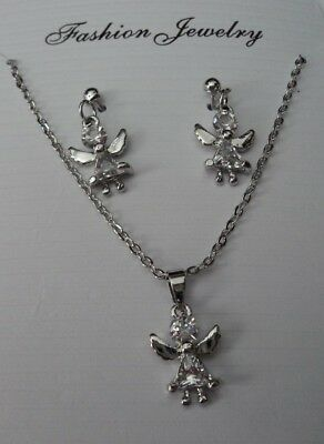 Gorgeous Angel Design 18K Sp  Cubic Zirconia Necklace&dangle Stud Earring Set.