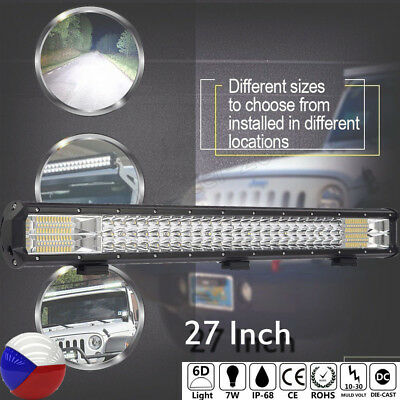 """Combo 27"""" 840W LED Work Light Bar Off road Driving Jeep SUV Truck 4WD 25000LM"""