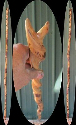 "73"" Persimmon Spiral Forked Wood Staff Hand Carved Hiking Stick Walking Cane USA"