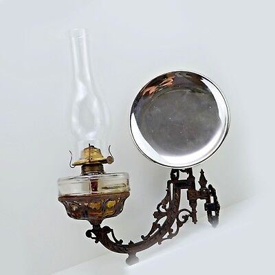 """Old 1890s Antique Cast Iron Oil Lamp Wall Bracket and 8"""" Reflector"""