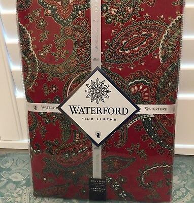 "New Waterford Christmas Paisley Red Green Tablecloth  Cotton Large 60"" x 144"""