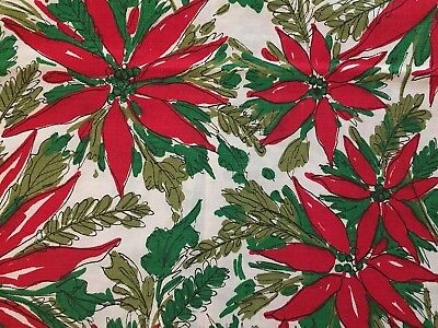 2 Vintage Indian Head Mills Christmas Poinsettia Fabric Table Runner Scarf VGC