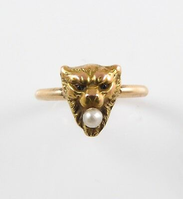 Antique 14k Gold Victorian Art Nouveau Roaring Tiger Cat Pearl Ring Size 7.5