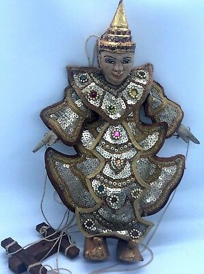 Burmese Asian Puppet Marionette Carved Wood Hand Painted Puppet Queen