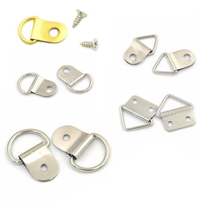 Metal Triangle D Ring Picture Frame Hanger Screws Strap 5 Styles Nickel Gold