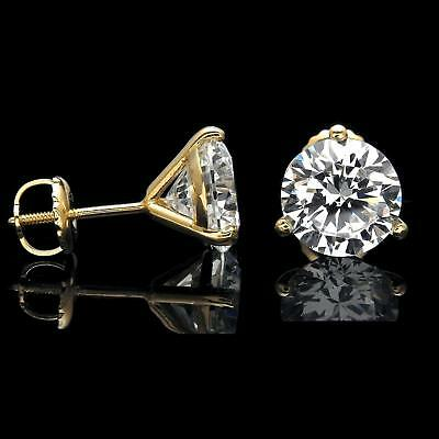 2 Ct Round Cut Diamond Screw-back Solitaire Stud Earrings 14k Yellow Gold Over