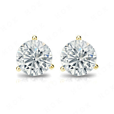 14K Yellow Gold Over 3 Prong 2 Ct Round Cut Diamond Solitaire Stud Earrings