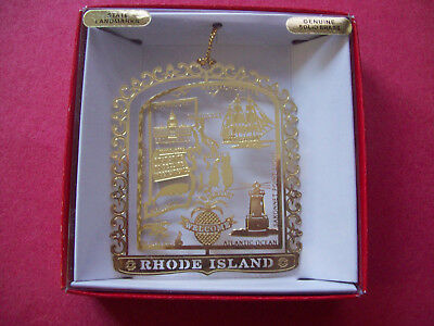 Nation's Treasures Rhode Island State Brass Ornament